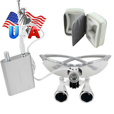 Usa Dental Loupes 2.5-3.5x420mm Surgical Binocularled Head Light Lamp Case