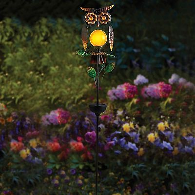 Solar Light Powered Owl Garden Led Statue Outdoor Stake Decor Patio Lawn Yard