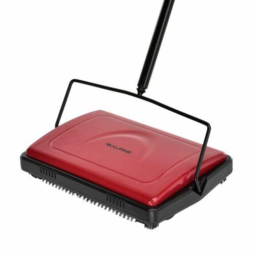 Alpine Industries Red Triple Brush Manual House Broom Floor and Carpet Sweeper