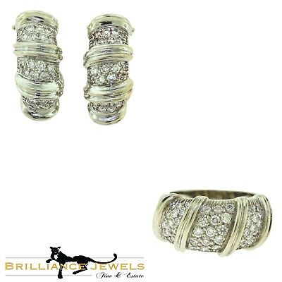 - Nabucco Signed Diamond Swirl 18k White Gold Earring and Ring Two Piece Set