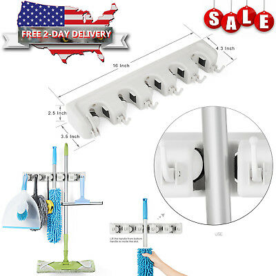 5 Position Wall Mount Magic Mop and Broom Holder Hanger Cleaning Tools Organize