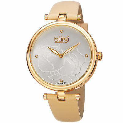 Women's Burgi BUR151YG Flower Engraved Diamond Dial Genuine Leather Strap Watch