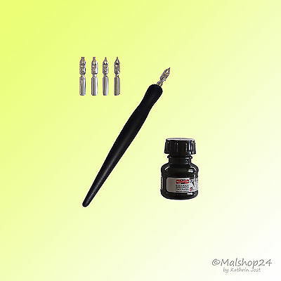 Kalligraphie-Set: 1 Federhalter+5 Schriftfedern / Schreibfedern+schwarze Tusche