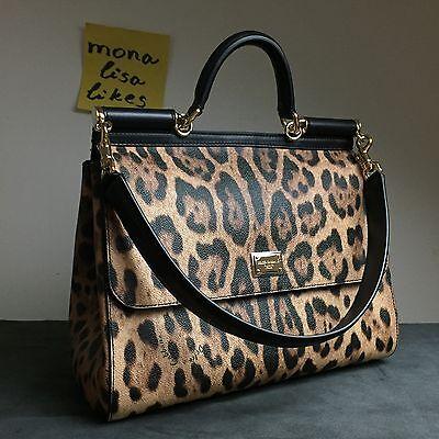 New DOLCE GABBANA Miss Sicily LARGE Leopard Animal Print Bag Handbag Purse Tote