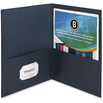 Business Source 2-pocket Folders 125 Sht Cap Letter 12x9 25bx D.blue 78492
