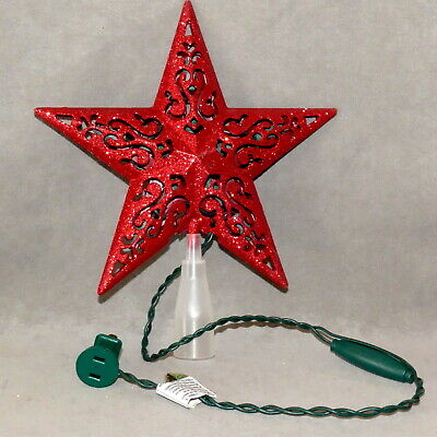 Christmas Tree Topper Star Lights UL Tested Glitter Red Open Work Indoor ONLY