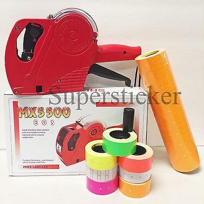Mx-5500 Eos 8 Digits Price Tag Gun Labeler Labeller 5000 Orange Labels 1 Ink