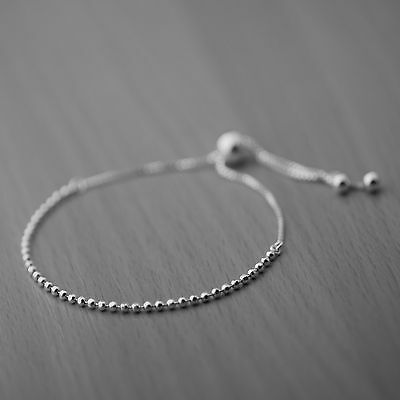 Genuine 925 Sterling Silver Adjustable Ball Bead Slider Bracelet on Box Chain