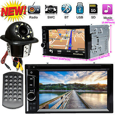 Double DIN 6.2 Inch Car Stereo Radio CD DVD LCD Player Bluetooth MP3 In dash+Cam