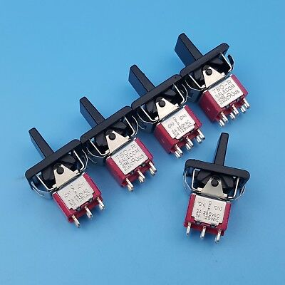 5pcs Sh R8018a 6pin Momentary Mom-off-mom Dpdt Mini Paddle Toggle Switch