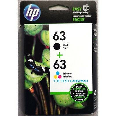 2-PACK HP GENUINE 63 Black & Tri-Color Ink (RETAIL BOX) OFFICEJET 4650 4652 4655