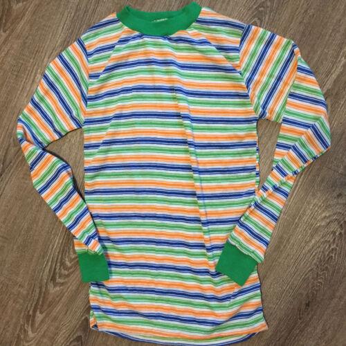 Vintage 70s 80s Kids Childrens Boy Surf Stripe Blank Plain Long Sleeve T Shirt