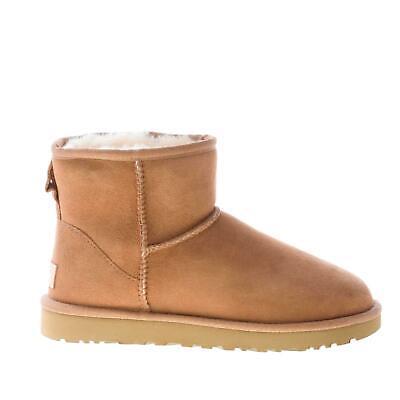 UGG scarpe donna Stivaletto Classic Mini in pelle scamosciata cuoio 1016222W