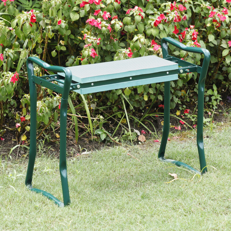 Foldable Kneeler Garden Bench Stool Soft Cushion Seat Pad Tool Pouch Kneeling