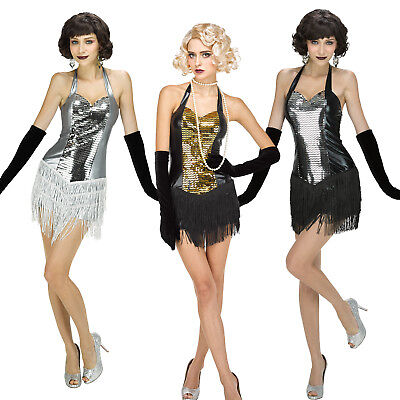 Vintage 20s Style Flapper Charleston Gatsby Sequin Tassel Fancy Dress Costume - Flapper Style Costumes