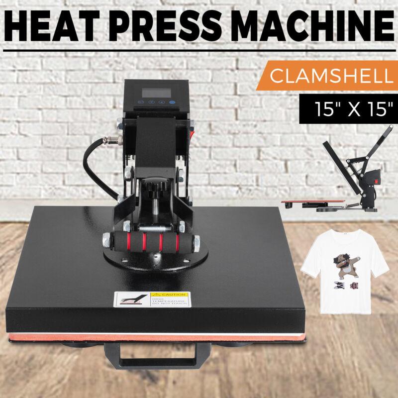 "TEFLON 15X15"" CLAMSHELL HEAT PRESS T-SHIRT Digital TRANSFER SUBLIMATION MACHINE"