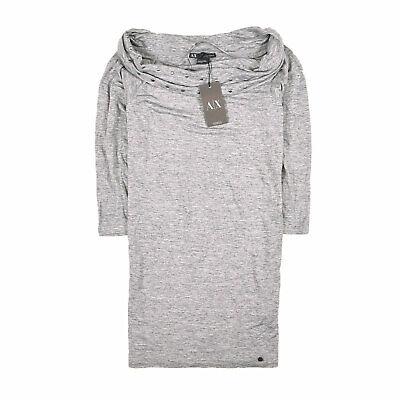 Armani Damen Tunika Shirt Bluse Top Gr.S (DE36) Exchange Wolle Tunica Grau 87177