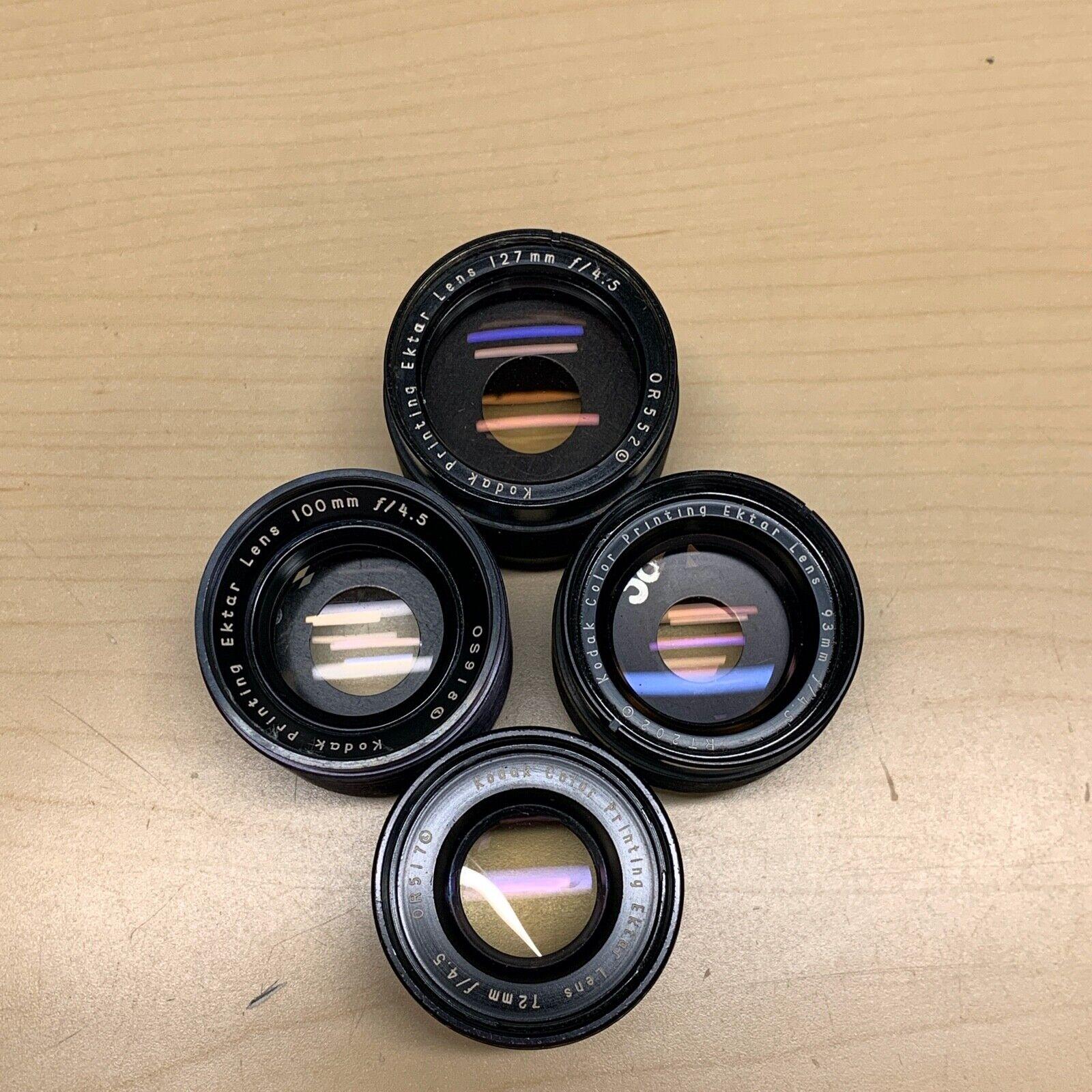 ^Kodak Ektar Printing Lenses 93mm f/4.5 72mm f/4.5 100mm f/4.5 127mm f/4.5
