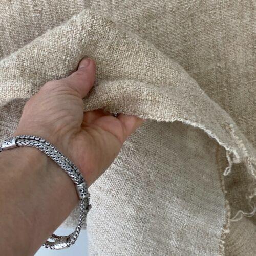 HEMP hand woven Antique linen fabric material upholstery heavy weight natural