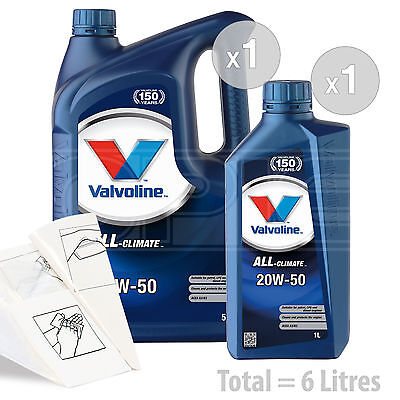 Car Engine Oil Service Kit  Pack 6 LITRES Valvoline All Climate 20w 50 6L