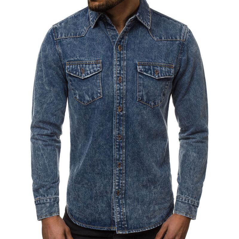 Hemd Freizeit Slim Langarm Business Shirt Casual Jeans Herren OZONEE Y/78193