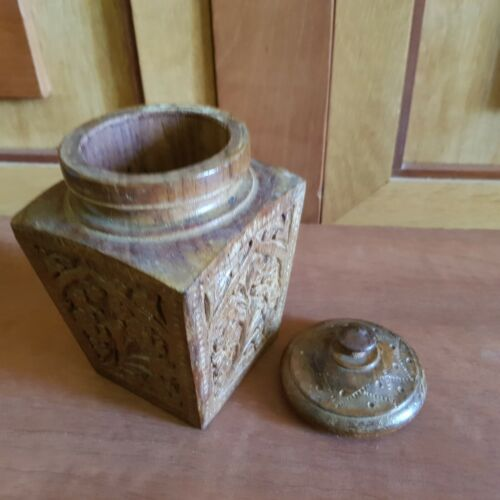 19th Century Hand Carved Wooden Tea Caddy