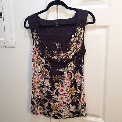 Sequined Floral Top (Deletta Sequined Floral Draped Blouse Top Grey M)