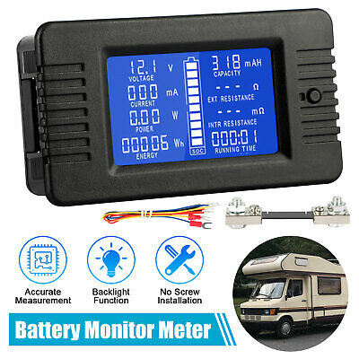 Lcd Digital Display Dc Battery Monitor Volt Meter 0-200v Voltmeter For Car Solar