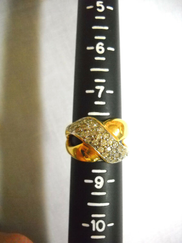 ESTATE VINTAGE GOLD TONE DAZZLING X CRISS CROSS w CRYSTALS BAND RING US SZ 8