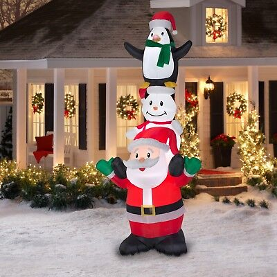 10FT Inflatable Santa Snowman Penguin Christmas Time off Alfresco Yard Badge