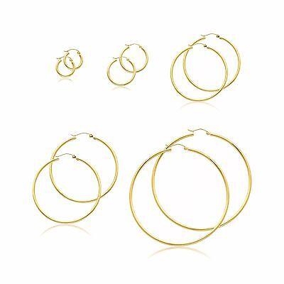 10K Yellow Gold Round Hoop Earrings 2mm 13-75mm - Polished Plain Tube Women Men