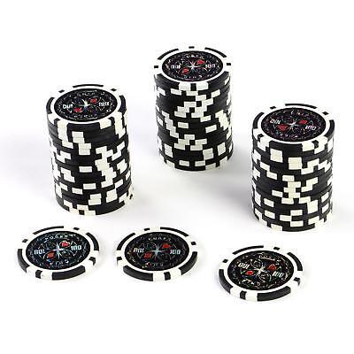 50 Poker- Chips Wert 100 Laserchip 12g Metallkern Jetons Choin für Pokerkoffer
