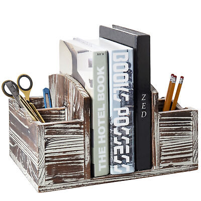 Desktop Torched Wood Office 4-slot Pen Holder With Book And Mail Organizer