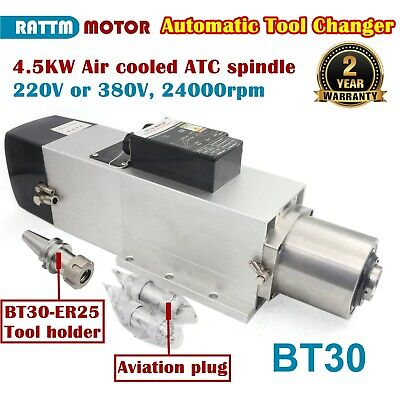 4.5kw Bt30 Atc Air Cooled Spindle Motor Automatic Tool Changer 24000rpm 220380v