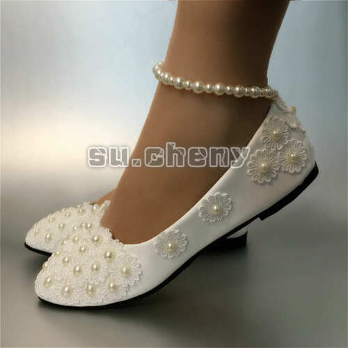 su.cheny White lace pearls ankle trap flats low high heels Wedding Bridal shoes
