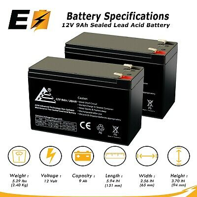 2 X 12V 9AH Battery for RAZOR Scooter E200 E300 ES300; Bella Betty Daisy Vapor