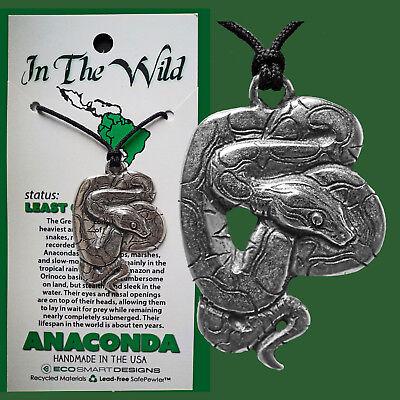 AMULET SNAKE ANACONDA FEMININE PRIMAL ENERGY ANIMAL SPIRIT Pendant Pewter Neck