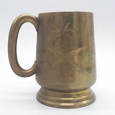 Vintage Saudi Arabia Brass Mug With Two Swords And Palm Tree Islamic
