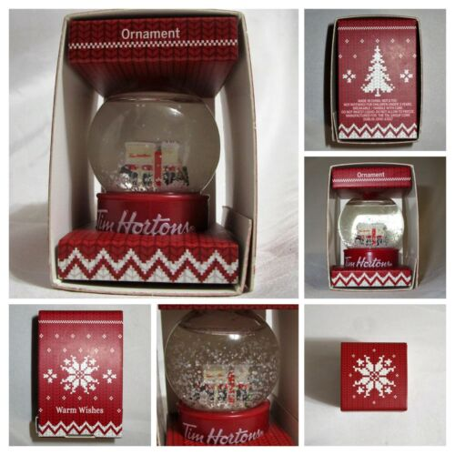 TIM HORTONS Coffee Snow Globe - NEW in Box, 2015 Holiday Christmas Tree ORNAMENT