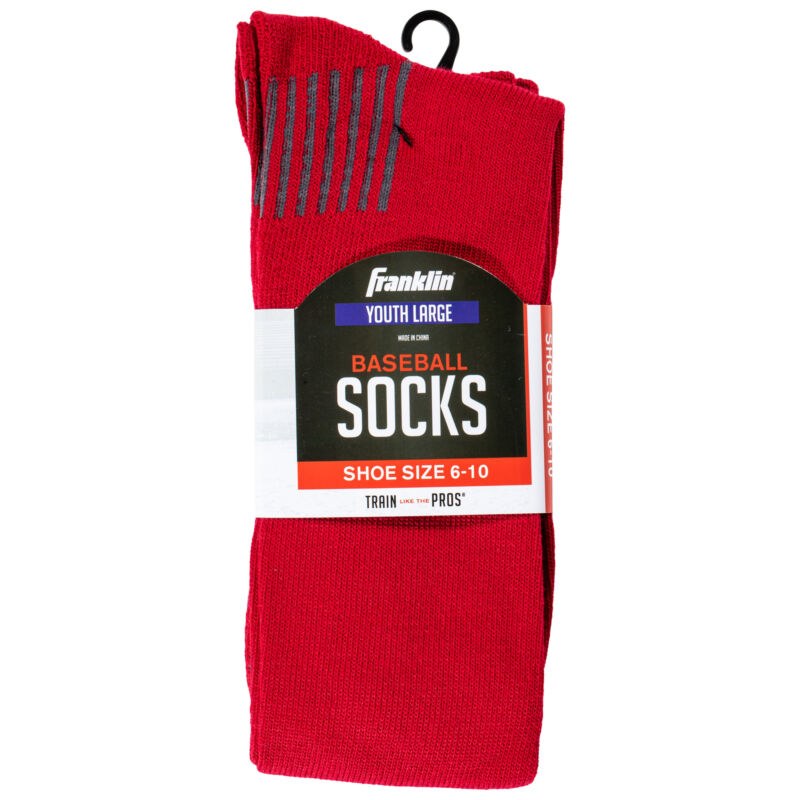 Franklin Sports Youth Large Baseball Socks Red Stripes Shoe Size 6-10, Brand New