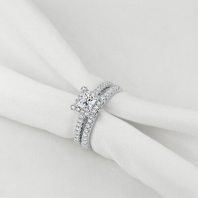 Wedding Band Engagement Ring Set For Women Sterling Silver Princess White CZ 7#