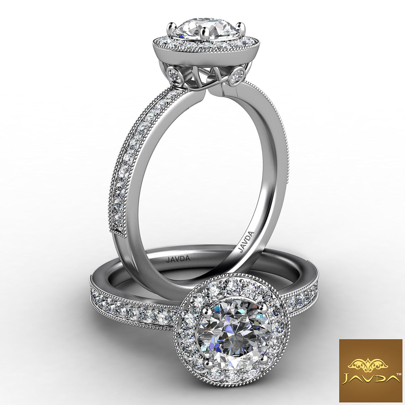 0.95ctw Halo Milgrain Sidestone Round Diamond Engagement Ring GIA F-VS1 W Gold