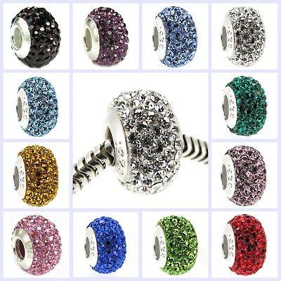 .925 Sterling Silver BIRTHSTONE ROUND Bling Bead for European Charm Bracelet ()