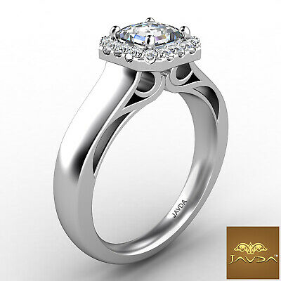 Asscher Diamond Engagement GIA H VVS2 18k White Gold Halo Pave Set Ring 0.7Ct 2