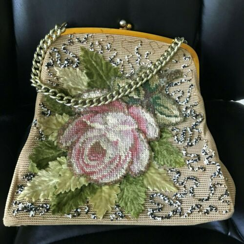 Vintage Jolles Purse with Beads & Needlepoint