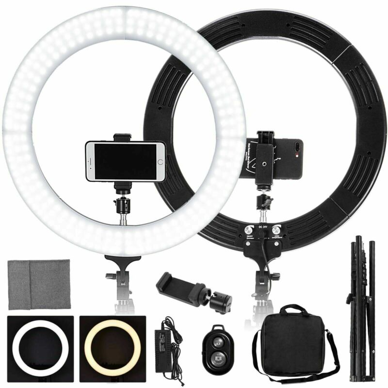 "New 18"" LED SMD Ring Light Kit with Stand Dimmable 5500K for Makeup Phone Camera"