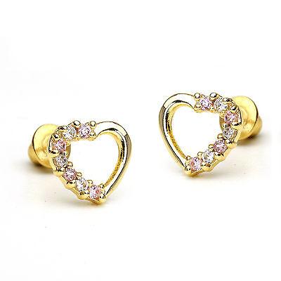 14k Gold Plated Pink Open Heart Children Screwback Baby Girls Earrings