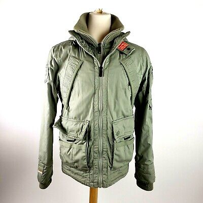 SuperDry JPN Japan Jacket Parka Military Army With Patches Hooded Mens XL