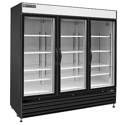 Maxx Cold 81 Commercial 3 Glass Door Nsf Merchandiser Freezer In Black 72cf