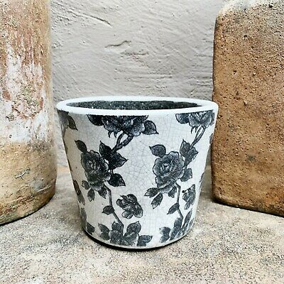 Negro Blanco Rosa Floral Crackle Cerámica Rústico Holandés Maceta Funda Tiesto